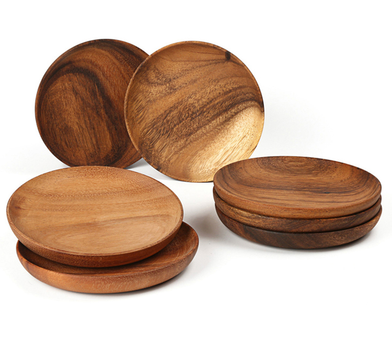 Round Wooden Plates High Quality Acacia Wood Serving Tray Cake Dishes Tableware Plate for Dessert Salad 2 Sizes Wood Utensils (9)