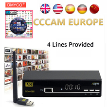 1 Year CCCAM Europe Freesat V8 super DVB-S2 Satellite Receiver Decoder Support 1080P Full HD powervu cccam bisskey IPTV DLNA EPG