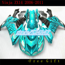 Market hot sales manufacturers ZX 14 r 6-11 ZX 1400 kawasaki ninja ZX14R smooth emerald motorcycle fairing ink black flames(China)