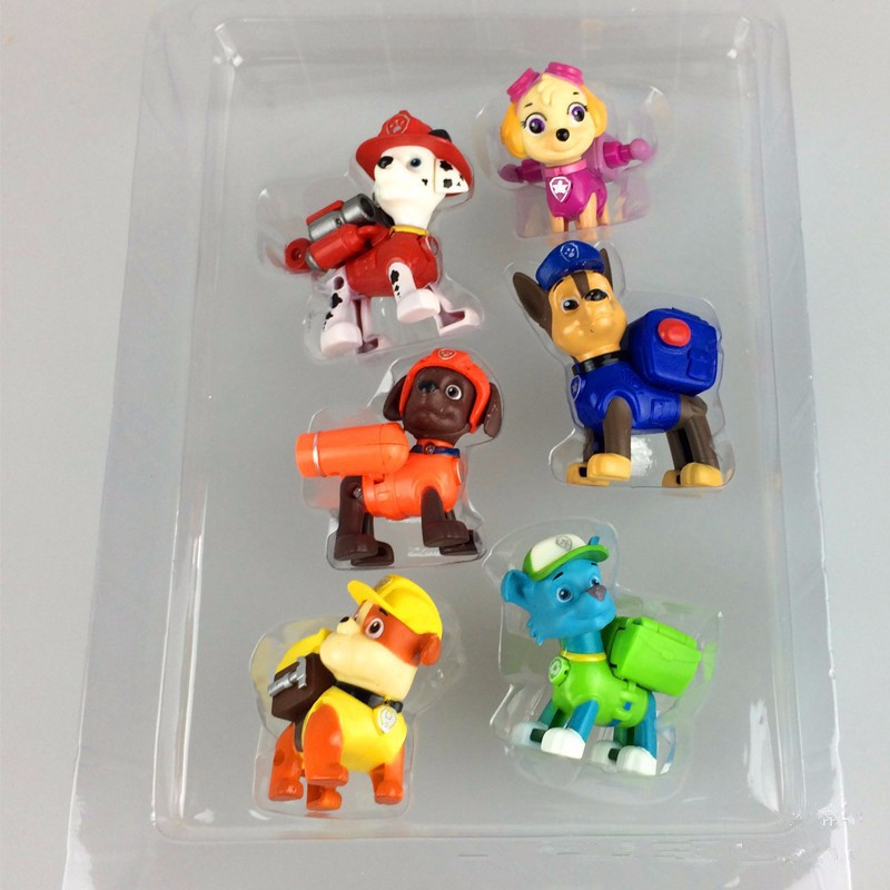 6pcs/set Puppy Patrol Cartoon Patrulla Canina Toys, Kids Toys  Patrol Toys  Anime Juguetes Can launch weapons Action Figure Dogs<br><br>Aliexpress