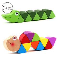 Baby New Wooden Toys Cute Transformable Crocodile Caterpillars Puzzles Fingers Flexible Training Intelligence Educational Toy(China)