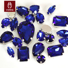 Sapphire Cobalt Mixed Shapes Mixed Sizes Sew On Rhinestone with Claw Glass Crystals Sewing Stone For Clothes Decoration Y3509(China)