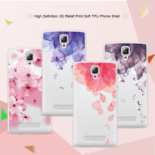 3D Relief Phone Case For Lenovo A1000 A 1000 4.0 inch Floral Cartoon Peach Lace Soft TPU Back Cover For Lenovo A1000 Coque Funda
