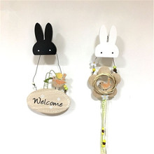 OnnPnnQ 2PC  Nordic Wooden Bunny Clothing Hooks Best Gifts For Children Home Decor Background Wall Decorations Hat Hanger Hook