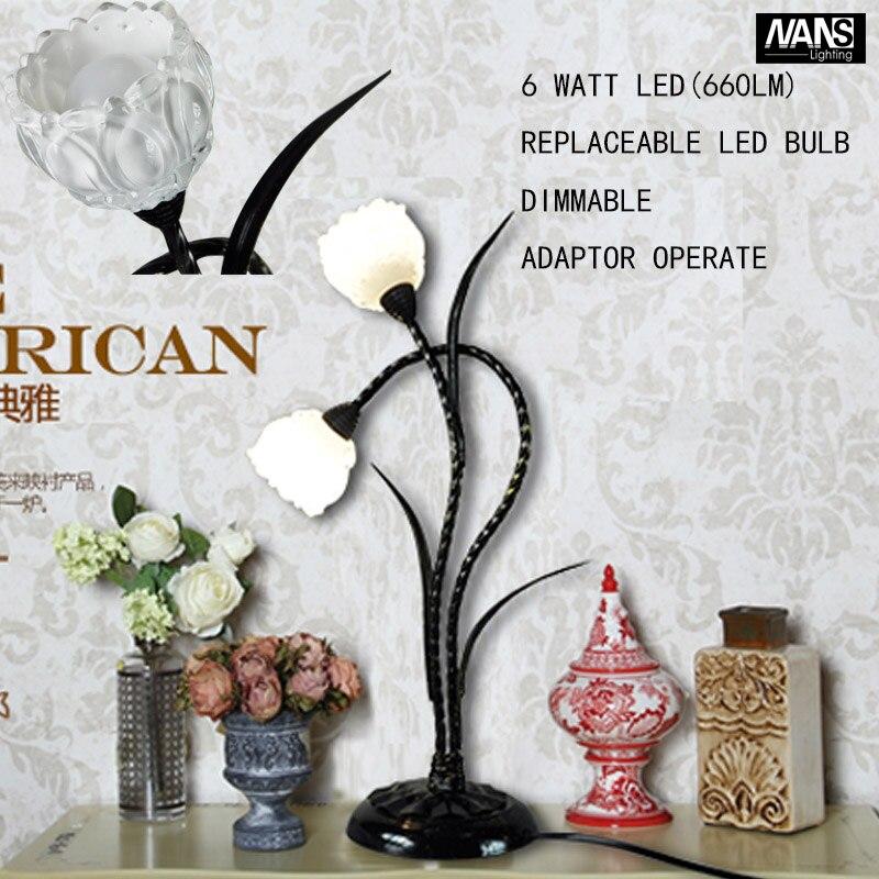 Retro Coffee Shop Table Lamp Resin Vintage Desk Lamp Dimmable 6W LED 110~240V Bedroom Bar Table Light Desk Light Flower lamp<br><br>Aliexpress