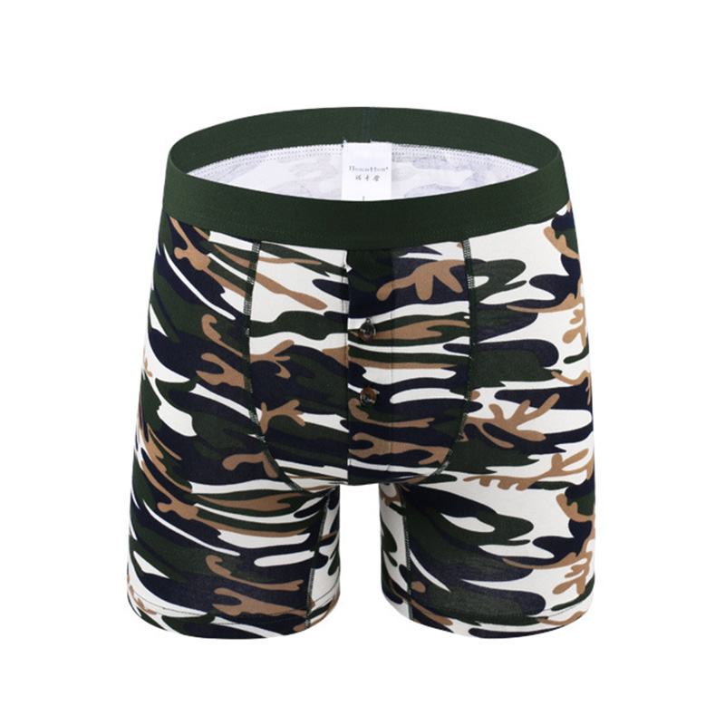 4XL 5XL 6XL Plus Size Men Underwear Boxers Open Pouch Long Leg Men's Underpants Camouflage Male Cotton Print Cuecas De Marca