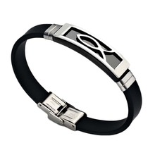 Newest Men Jewelry Black Silicone Rubber Bracelet Stainless Steel Trendy Men Bracelet