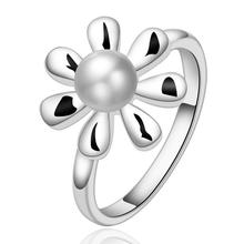 Japan and South Korea explosion models  silver plated  jewelry Fashion women simple pearl ring R594