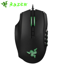 Razer Naga 2014 Left Handed 8200DPI Gaming Mouse Ergonomic computer MMO Game Mouse with Mechnical 12 Button Thumb Grid(China)