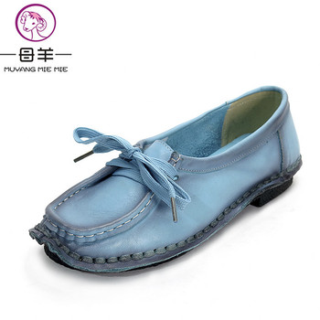 Chaussures À La Main Véritable de femmes En Cuir Laçage Plat Mère Chaussures Femme Mocassins Doux Unique Casual Chaussures Femmes Appartements