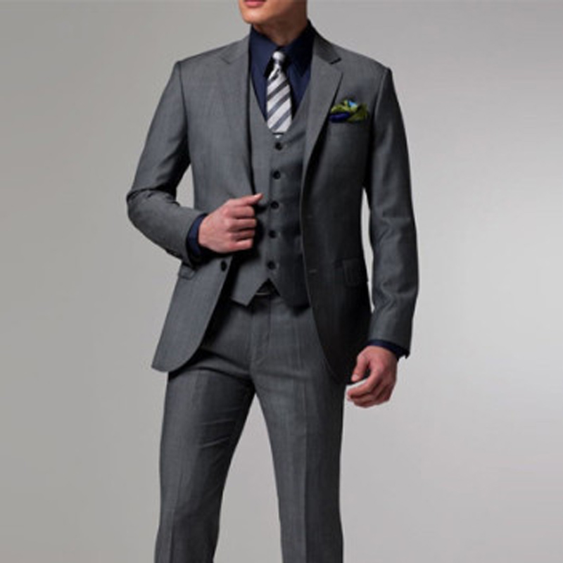 Gray Wedding Groomsmen Tuxedos for Slim Fit Men Suits 3 Piece Notched Lapel Custom Made Man Suit Fashion Jacket Pant Vest