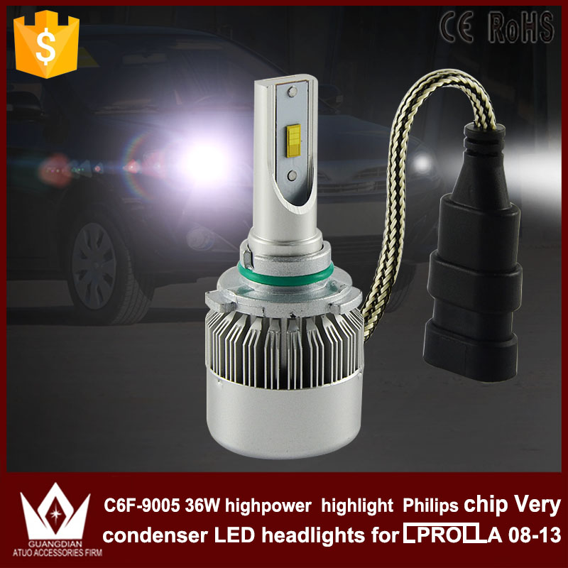 Guang Dian car led light Headlight Head lamp HIGH BEAM C6F 6000K white 12V 36W 9005 HB3 for corolla 2008-2013 only<br><br>Aliexpress