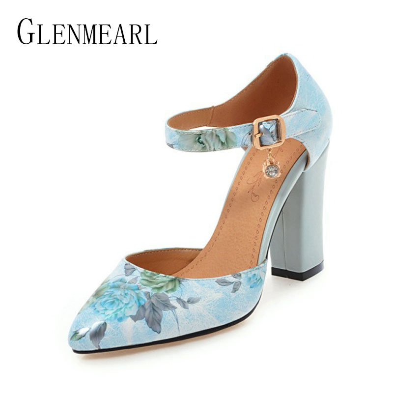 2018 Women Pumps High Heels Woman Shoes Brand Spring Pointed Toe Ankle Strap Pumps Flower Thick Heel Wedding Shoes Plus Size 45<br>