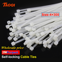 250Pcs/pack 4*300mm Nylon Cable Ties 2.7mm width Self-locking Plastic Nylon Fasten Wire Zip Tie wholesale price