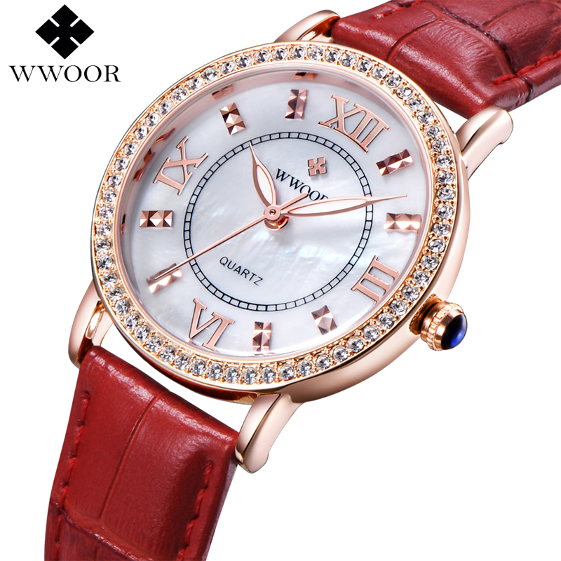 Top Brand WWOOR Genuine Leather Diamond Luxury Dress Watch Ladies Casual Quartz Watch Women Watches Rose Gold Clock montre femme<br><br>Aliexpress
