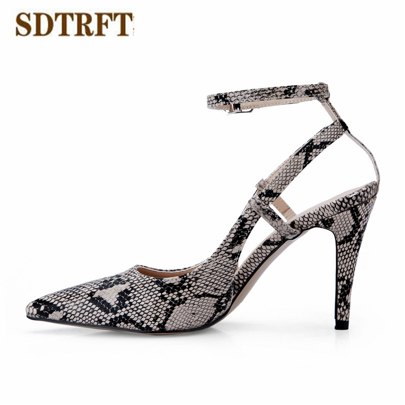 SDTRFT Plus:35-42 43 Summer cross-strap Sandals zapatos mujer 9cm thin heels Slinbacks shoes woman Snakeskin pointed sexy pumps<br>