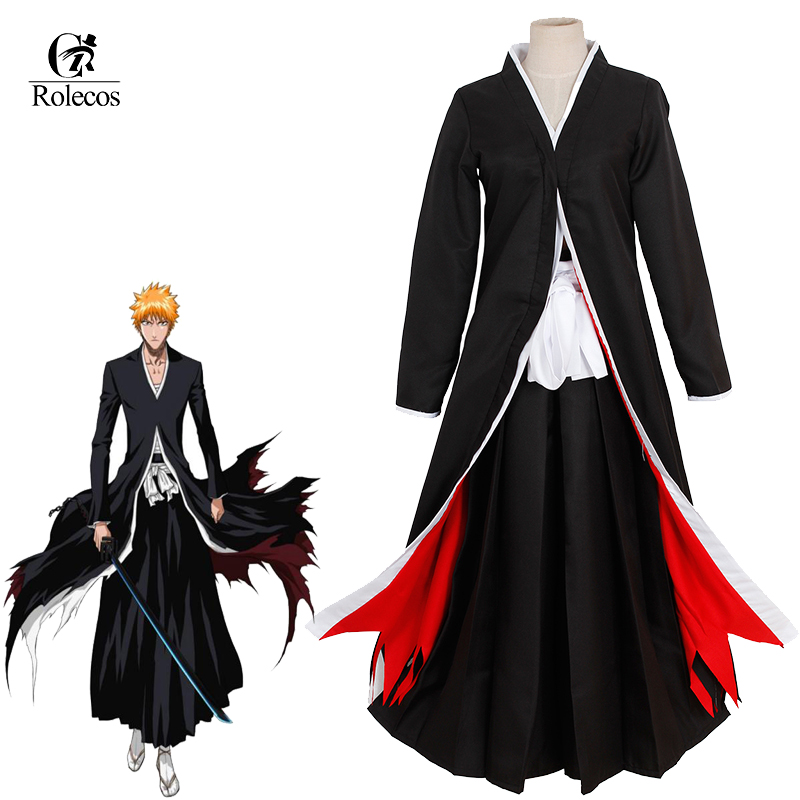 Rolecos 2017 New Arrive Cloak Kurosaki Ichigo Cosplay Customes Bleach Anime Cosplay Costume Japanese Clothing Black Cloak(China (Mainland))