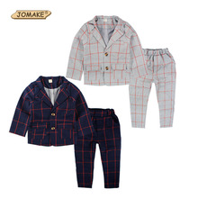 Retail Brand Children Clothing Set England Kid Clothes Gentleman Boy Party/Wedding Suits Baby Boy Formal Plaid Long-sleeved Sets