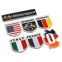 Shield Irregular Germany French US Italy Flag Football Team Thin Aluminium Labelling Refitting Car Styling Emblem Badge Sticker