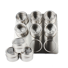 9 Pcs magnetic stainless steel glass jars spice rack set with stainless steel stand(China)