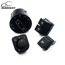 Factory direct sales! Power Headlight Mirror Window Switch Button console SET for VW Caddy Jetta Golf 5 MK5 V Puls Passat B6(China)
