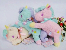 "10"" Sanrio Little Twin Stars Blue Pink Blue Unicorn Bag / Wallet &Coin Purse Charm Animal Doll Plush Stuffed Toy NWT(China)"