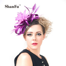 ShanFu Women Feather Fascinators Large Satin Wedding Hat Purple Fascinator Hat For Wedding Cocktail Pink with Headband SFC12214