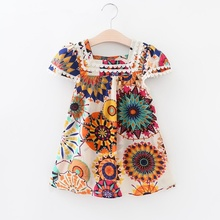Summer nNew Arrival Cute Baby Girl Colorful Raindrop Printing Dress Turn-down Collar Soft Cotton Dress  Sunflower Girl Dress