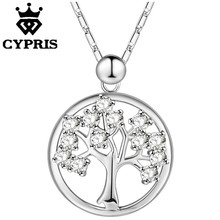 2018 Super Deal not fade pendant necklace New arrivals tree of life plant crystal wholesale rose gold silver color love(China)