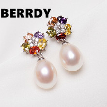 HOT PROMOTION Freshwater Pearl Earrings Flower Earrings Fashion Pearl Jewelry Unique Designed Jewellery for Lady Female(China)