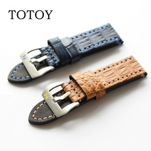 TOTOY American Crocodile Leather Watchbands, Handmade 22MM 24MM Retro Men's Strap, Brown \Blue For PAM Strap, Fast Delivery