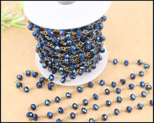 5 Meters DIY Dark Blue with AB color Wire Wrapped Beaded Chain Rosary chain faceted Crystal roundel beads for Necklace bracelet(China)