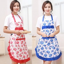Waterproof Printed Aprons with Floral Kitchen wear Oil Prevention Apron Shoulder Strap Style Women Restaurant Home Kitchen Apron(China)