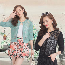2016 New Arrival Summer / Spring Sexy Girls Hollow Out Thin Knit Cardigan Lace Flowers Sweater