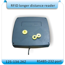 RFID reader / longer distance ISO11784/11785 RFID tag reader 10-80CM 125-134.2KHZ frequency RS232-485 port+2pcs cards