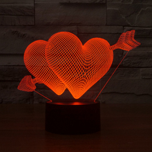 Creative 3D illusion Lamp Cupid's arrow LED Night Light  Acrylic Colorful bedroom Atmosphere table Lamp as Valentine's Day gift