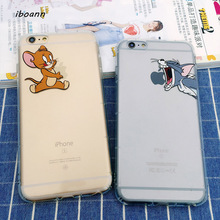iboann antiknock air bag Tom and Jerry dogs cartoon TPU soft gel silicone clear case for iphone 5 5s 6 6s 7 8 plus cases cover(China)