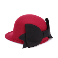 2017 Spring Felt Hats For Women Vogue Chapeau Female Big Bow-Knot Design Equestrian Bowler Hat Red Fedoras Free Size