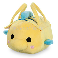 Cute Tsum Tsum Plush Carrier Bag Princess Little Mermaid Flounder Fish Stuffed Animals Kids Toys for Children Gifts(China)