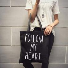 Casual Women Large Capacity Tote Canvas Shoulder Bag Follow My Heart  Letter Print Shopping Bag Beach Bags Casual Tote Feminina