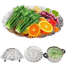 Stainless Steel Non-Scratch Folding Collapsible Insert Veggie Basket for Healthy Eating Steams Vegetables/ Fish/ Rice in Kitchen(China)