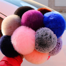 13 Colors Hot Sale Lovely Fluffy Rabbit Fur Ball Key Chain Pompom Artificial Rabbit Fur Keychain Women Car Bag Key Ring(China)