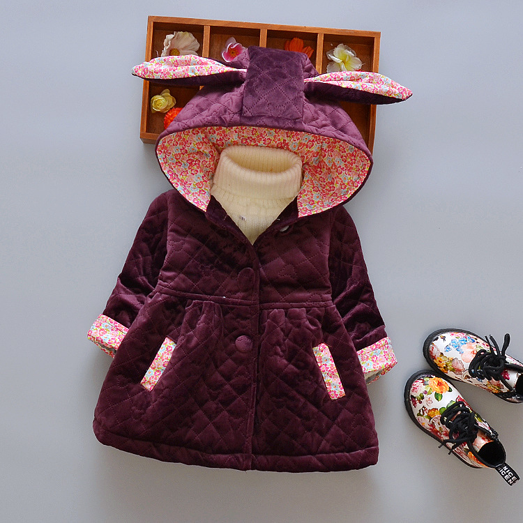 Cute Rabbit Ear Hooded Girls Coat New Top Autumn Winter Warm Kids Jacket Outerwear Children Clothing Baby Tops Girl CoatsÎäåæäà è àêñåññóàðû<br><br>
