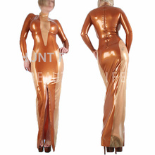 Buy Latex long dress bodysuits long sleeve fetish exotic suits two colors splice sexy 100% natural handmade