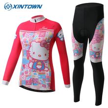 Hello Kitty Women Winter Cycling Set Long Sleeve Thermal Fleece Cycling Jersey Bicycle Clothing MTB Bike Clothes Sportswear