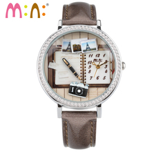 M:N: Handmade POLYMER CLAY Mini watch ladies Women's watches Children cartoon WristWatches girls clock relogio feminino books