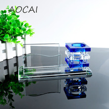 AAA K9 blue Crystal Pen Pencils Holder Remote Control Case Box Business Card Stand Desk Organizer Set Office Table Accessories