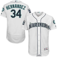 MLB Men's Seattle Mariners Felix Hernandez Baseball Home White On-Field Flex Base Authentic Jersey with Patch(China)