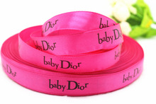 Hot sale 100yards/lot 5/8 16mm hot pink baby D printed satin ribbons for childrens  DIY hairbow accessories