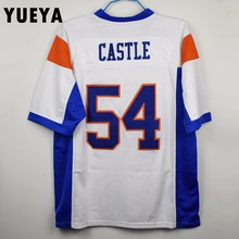 "YUEYA ""Blue Mountain State"" Movie Jerseys #54 Thad Castle American Football Jersey Mens Cheap White S-3XL"